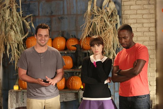 New Girl The gang ponders by some pumpkins.