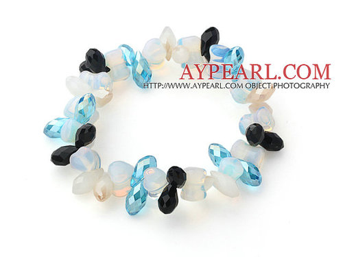 Blue Long Drop Crystal and Heart Shape Milky Color Opal Crystal Stretch Bracelet
