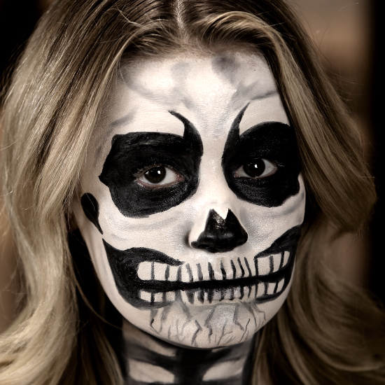 Gallery For &gt Skull Face Makeup - Skeleton Halloween Makeup