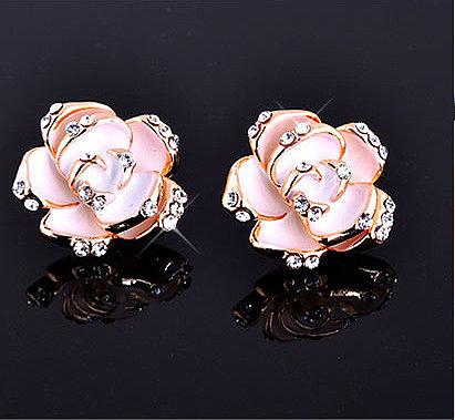 Elegant Diamond Rose Earrings