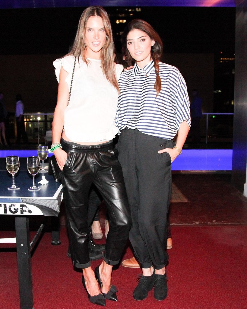 Alessandra Ambrosio and Amanda Setton helped launch LA's Martone Cycling in relaxed trousers.