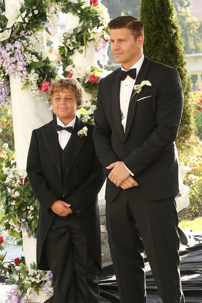 Booth's son, Parker (Ty Panitz), stands by his father's side at the altar.
