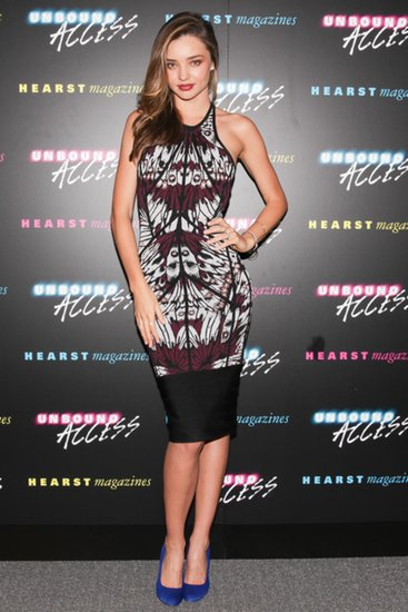 Miranda Kerr showed her sexy side when she wore a printed Hervé Léger dress to the Unbound Access presentation at Hearst Tower in New York City.