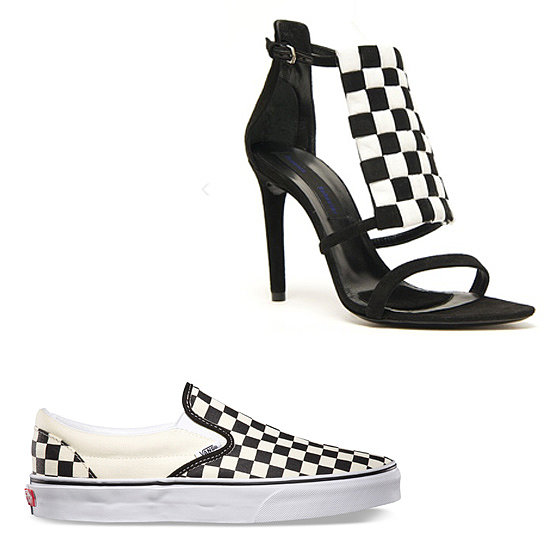 Above: Proenza Schouler Ankle-Strap Sandals  ($1,240) Below: Vans Checkerboard Slip-Ons  ($47) Related: The Best Wide-Brim Hats