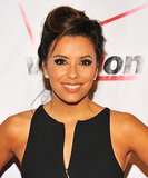 Eva Longoria's asymmetrical updo was high on volume at the crown.