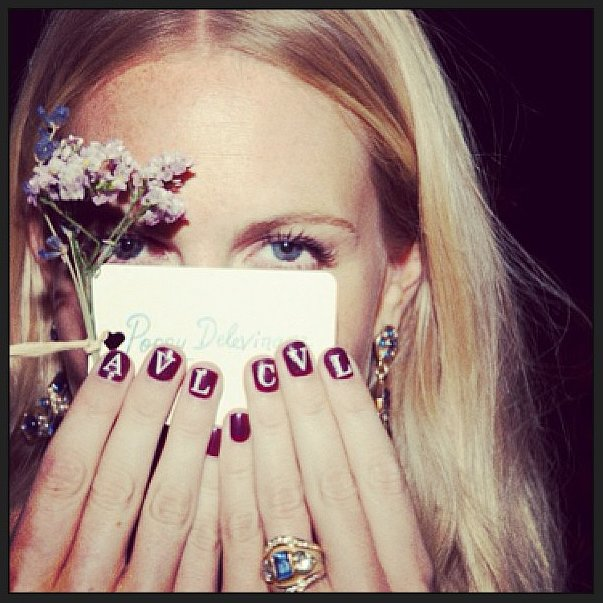 What a pal! Poppy Delevingne customized her tips for a friend's wedding. Source: Instagram user poppydelevingne