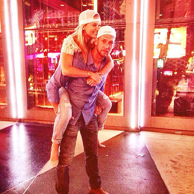 Bar Refaeli got a piggyback ride from her younger brother. Source: Instagram user barrefaeli