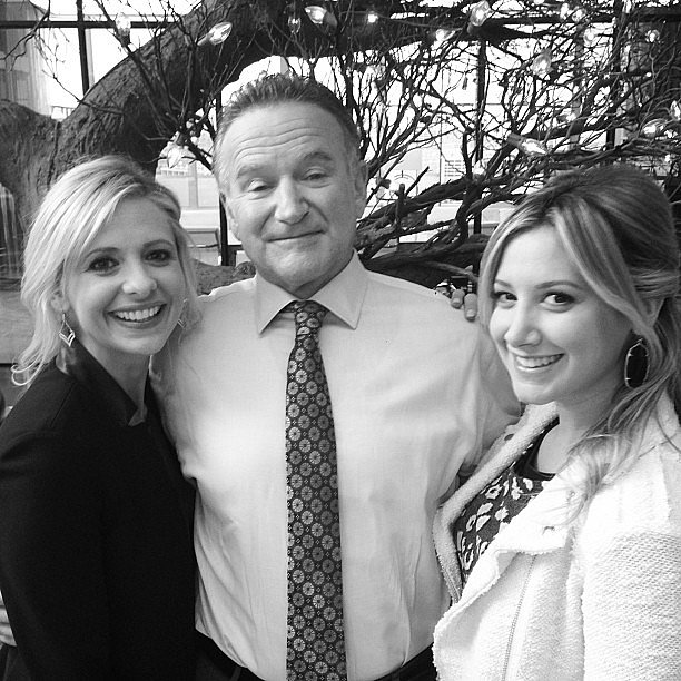 Ashley Tisdale shared a photo with Sarah Michelle Gellar and Robin Williams on the set of The Crazy Ones. Source: Instagram user ashleytis