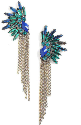 ROBERT ROSE Feather-Effect Jewel Cluster & Chain Fringe Stud Earrings