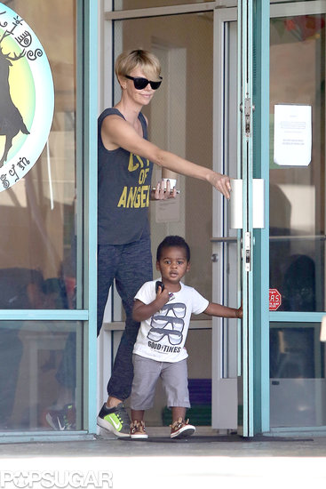 Charlize Theron Hits the Gym With Her Little Gentleman