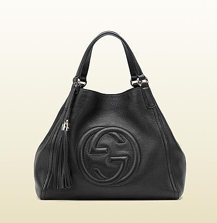 Soho Black Leather Shoulder Bag