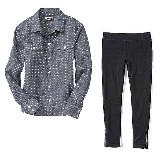 For your next Fall outing, dress your girl up celeb-style in a polka-dot chambray shirt ($16, originally $20) and black leggings ($14) with a zipper detail.
