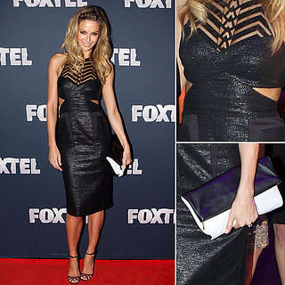Jennifer Hawkins in Manning Cartell at Foxtel Upfront