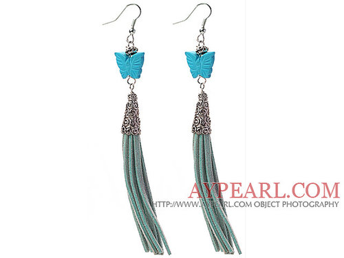 Long Style Butterfly Shape Blue Turquoise Dangle Leather Tassel Earrings with Leather Tassel