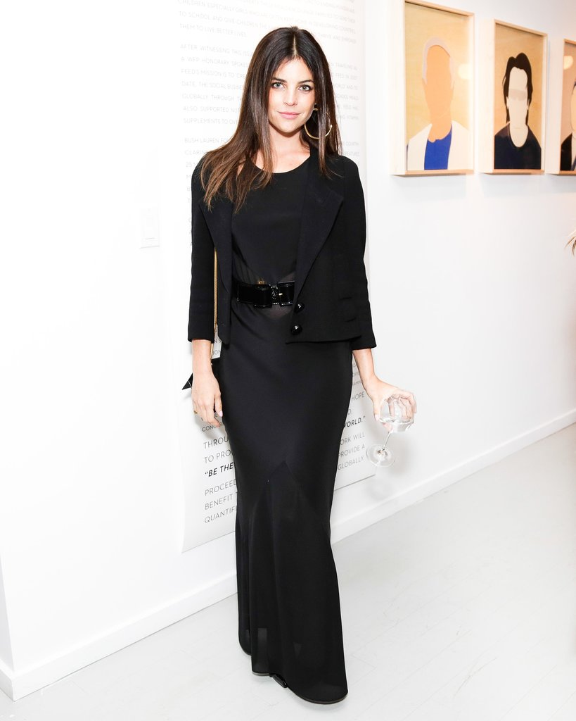 At the Feed and Clarins Faces of Change opening night celebration, Julia Restoin Roitfeld smoldered in a black column.