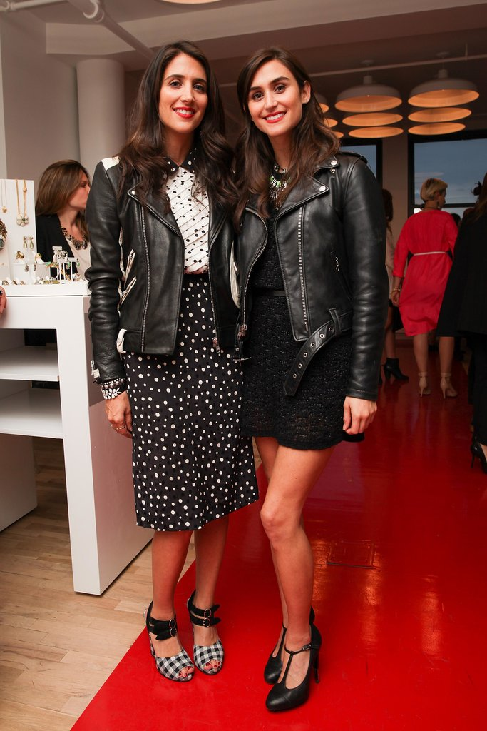 Jodie Snyder and Danielle Snyder raised a glass at the CFDA jewelry showcase cocktail reception in leather motorcycle jackets.