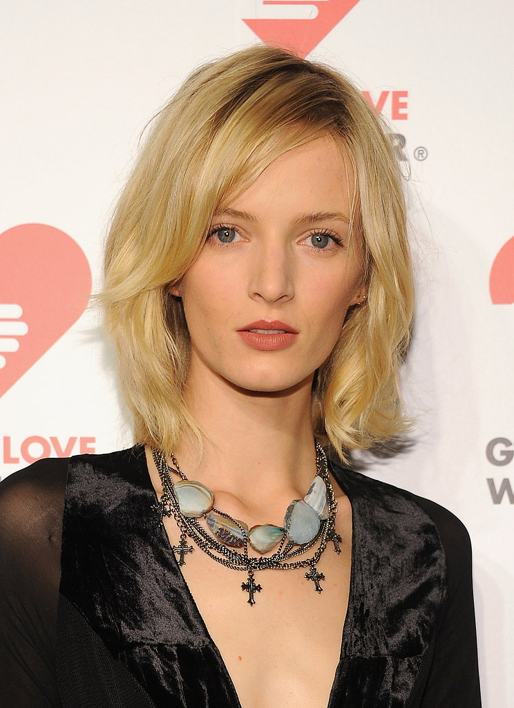 Model Daria Strokous looked beautiful with a textured blowout and a matte nude lip.