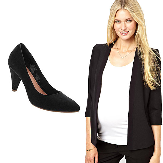 This structured blazer ($336) is one you'll want to keep even after baby is born, and same goes for a cushioned suede pump ($30) with a walkable heel.