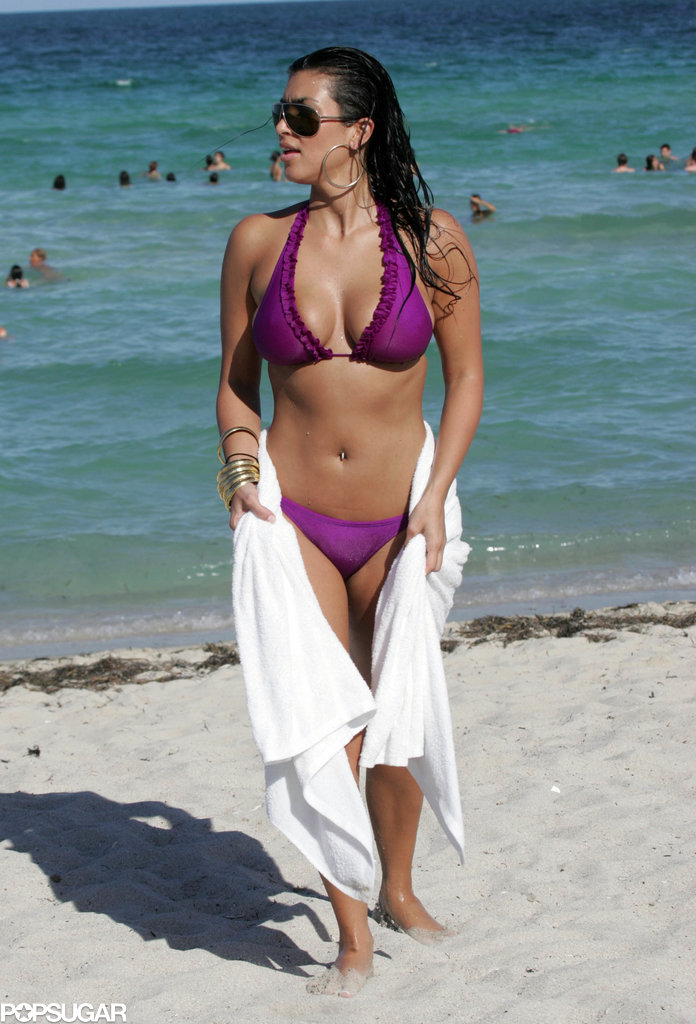 Kim Kardashian hit the ocean in Miami Beach during a July 2007 trip with her sisters.