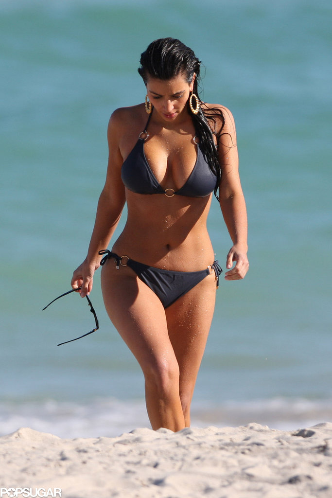 Kim Kardashian walked along the beach during a November 2008 trip to Miami.