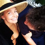 Sam Worthington's first-ever Instagram picture was this shot of himself with girlfriend Lara Bingle in Oct. 2013. Source: Instagram user mrsamworthington