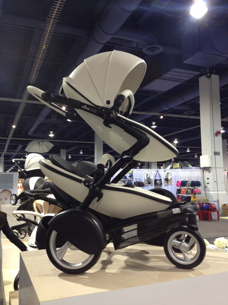 Spanish stroller-maker Mima's US debut will include the Kobi. The leatherette stroller accommodates up to two kids (the second seat can be added on at a later date) and comes in this snow-white kit.