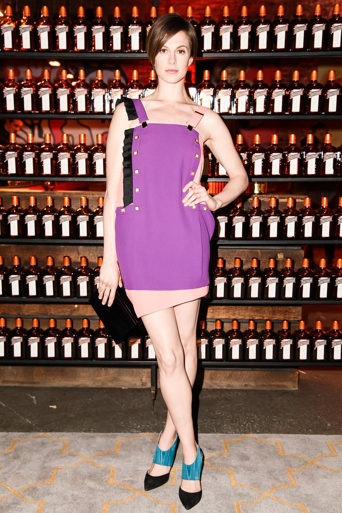 Elettra Wiedemann made us want to buy overalls in her two-tone Emanuel Ungaro design at Vogue's Highline Studios event.