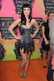 Katy Perry had us blinded by the (sequin) light styling of a plunging multicolored dress by The Blonds with attention-grabbing silver sequined Christian Louboutin heels at the 2010 Kids' Choice Awards.