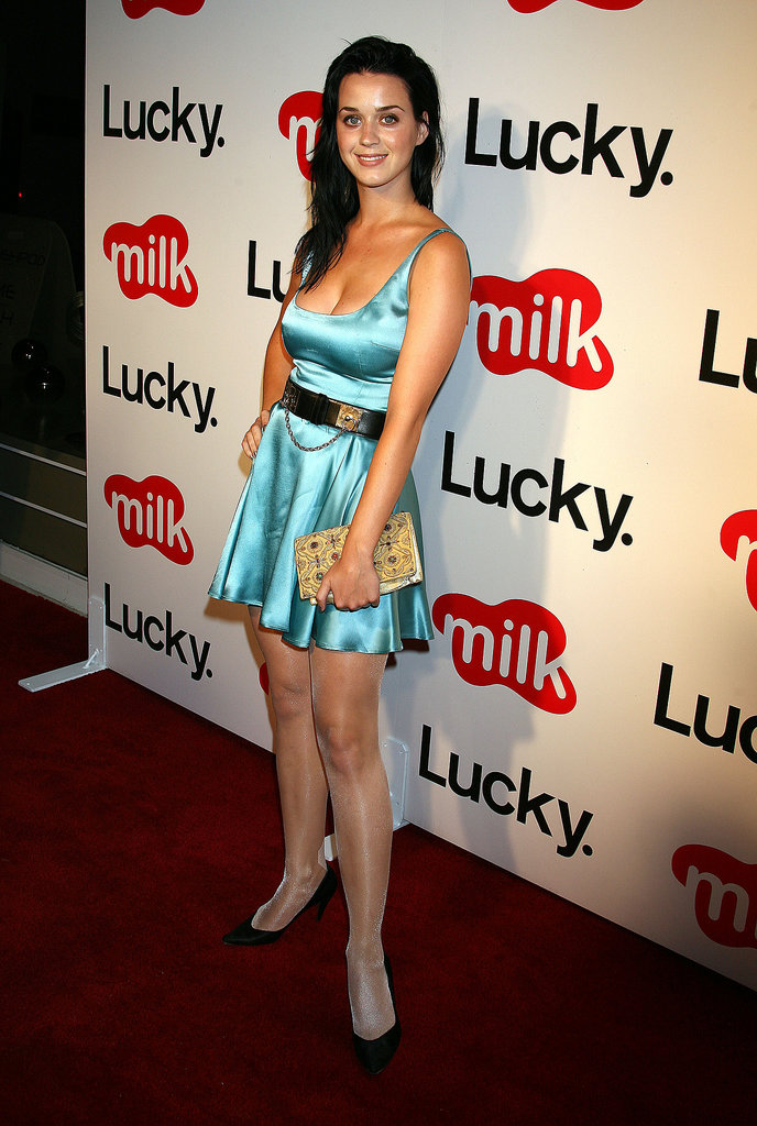 A fresh-faced Perry chose a satin fit-n-flare for the a 2006 Lucky event in LA.
