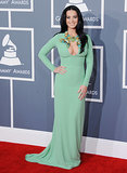 Katy Perry took the 2013 Grammys red carpet by storm in a dazzling seafoam green Gucci gown adorned with gorgeous jewels and a peekaboo keyhole cutout.