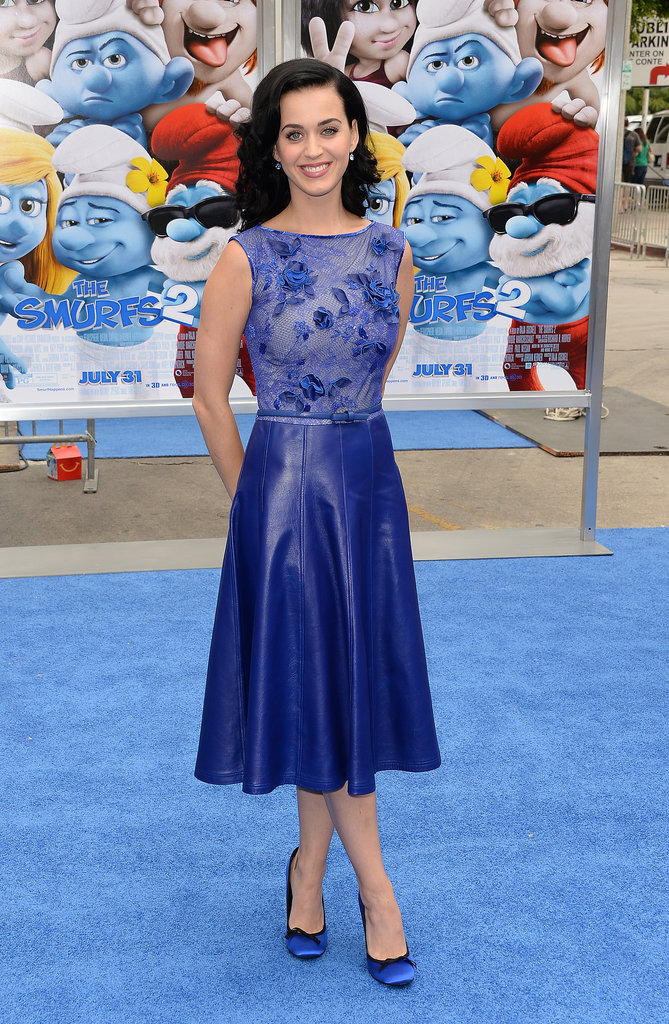 Looking every bit as sweet as a smurfette, the singer rocked a regal leather and lace Tadashi Shoji dress with coordinating Pedro Garcia shoes for the Smurfs 2 LA premiere in July 2013.