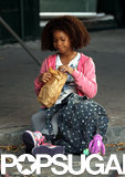 Quvenzhané Wallis spent Wednesday continuing her work on Annie in the streets of NYC.
