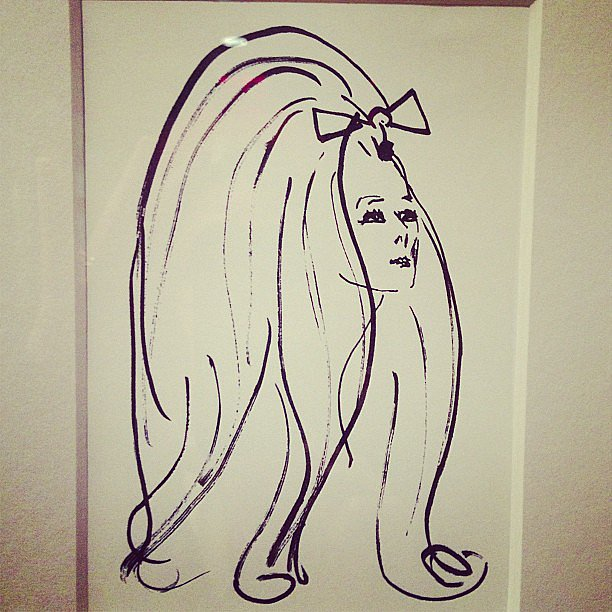 We wish we had hair like this drawing Aerin Lauder snapped. Source: Instagram user aerin