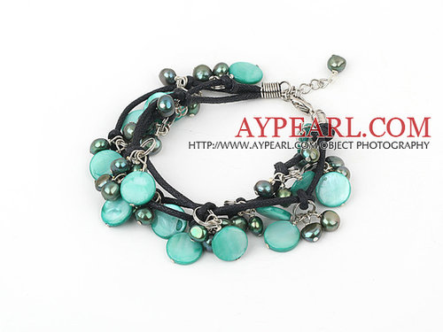 multi strand dyed green pearl and shell bracelet with extendable chain