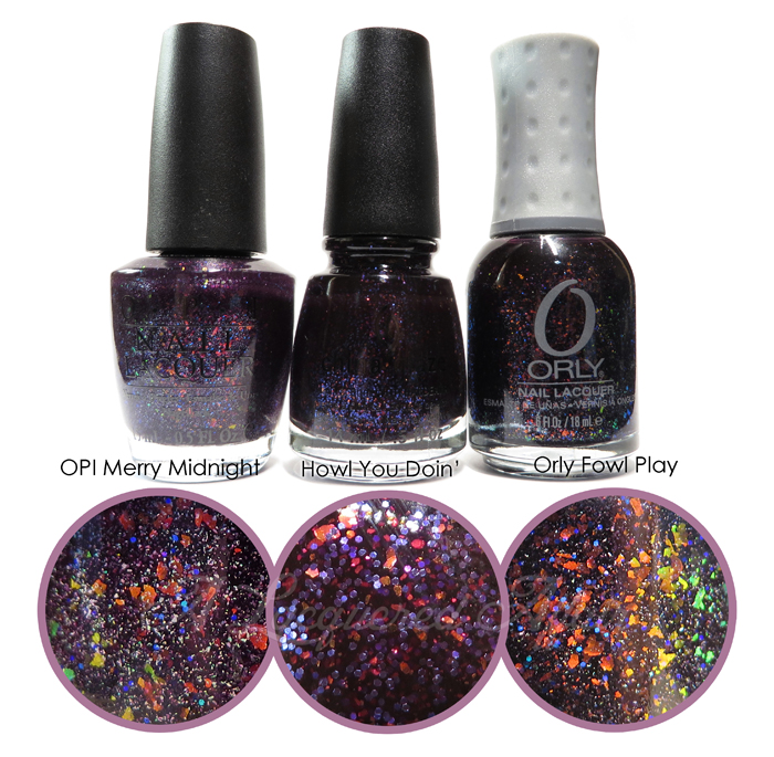 OPI Merry Midnight vs China Glaze Howl You Doin' vs Orly Fowl Play