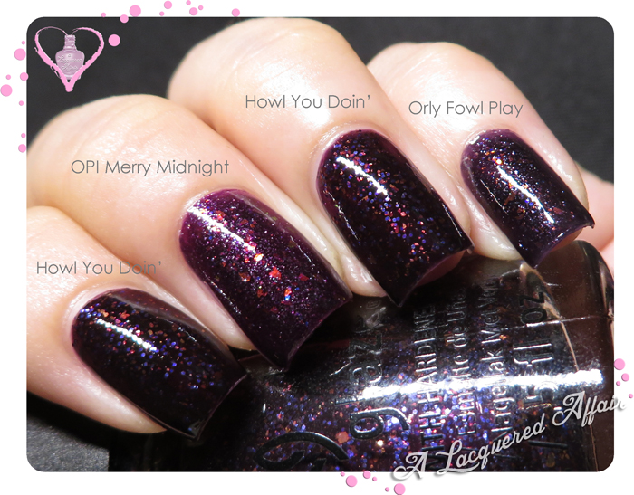 China Glaze Howl You Doin' vs OPI Merry Midnight vs Orly Fowl Play