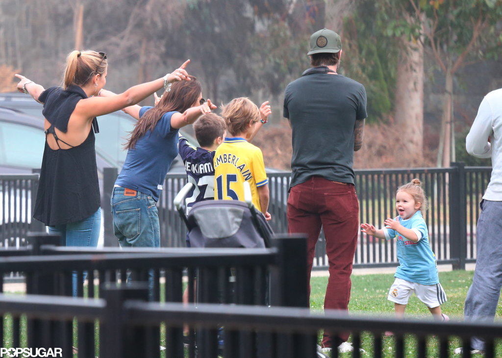 Harper Beckham ran over to her family, who watched her play soccer.