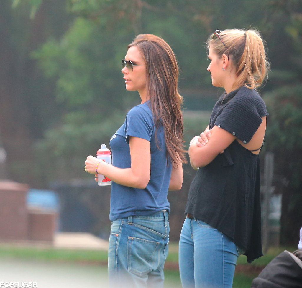 Victoria Beckham kept things casual for a family trip to watch Harper's soccer game.