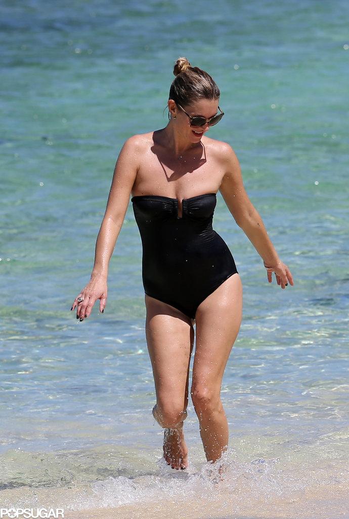 Kate Moss had fun in the ocean.