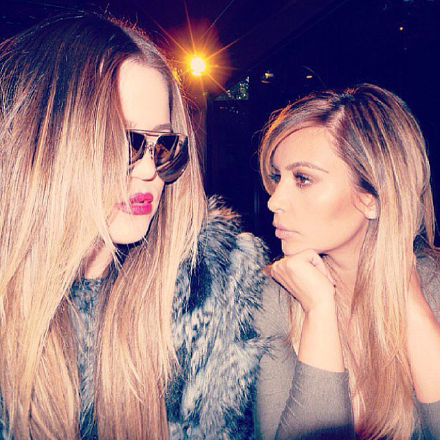 "Khloé and Kim Kardashian shared a ""serious sister moment."" Source: Instagram user kimkardashian"