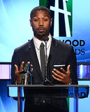 Fruitvale Station star Michael B. Jordan accepted the spotlight award at the Hollywood Film Awards on Monday.