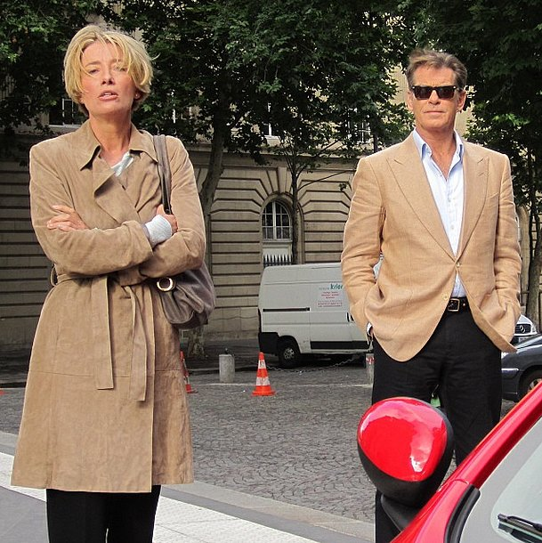 Pierce Brosnan and Emma Thompson worked their coordinated neutral toppers on the set of Love Punch. Source: Instagram user piercebrosnanofficial