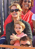 January Jones and her son, Xander, spent their Saturday at Underwood Family Farms in LA.
