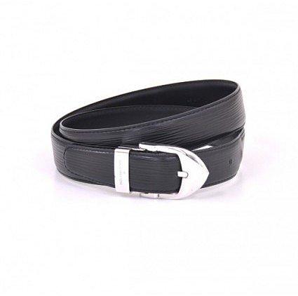 excellent (EX) Louis Vuitton Black Epi 110/44 Ceinture Classique Belt Silver Hardware