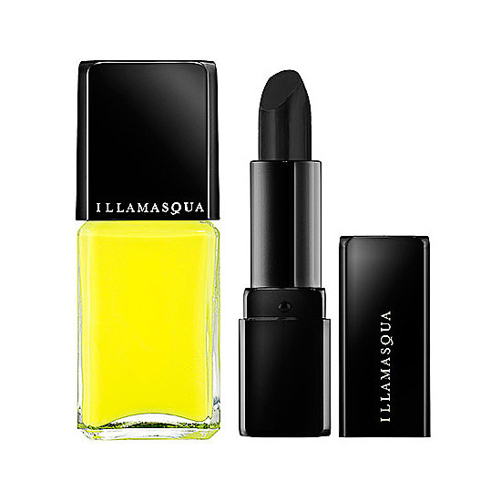 British brand Illamasqua has the most ghoulish and futuristic shades for both lipstick and nail polish. If you're planning to play a member of the Addams Family, then you'll want to get the brand's black lip color, Pristine ($26) and the neon nail polish in Rare ($17).