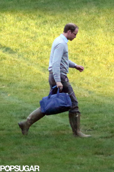 Prince William landed at Kensington Palace after a hunting trip with his friends.