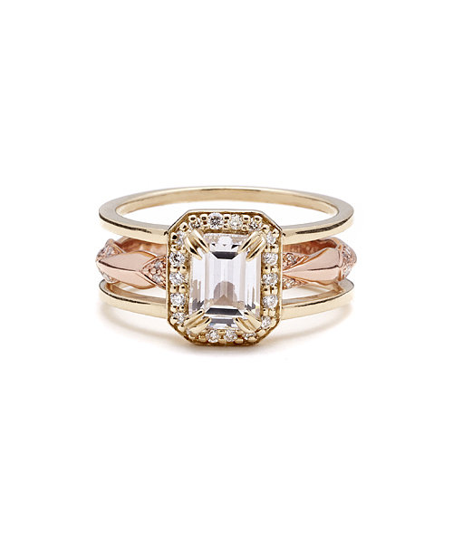 Anna Sheffield Attelage Emerald Cut Diamond Bridal Set ($11,000)