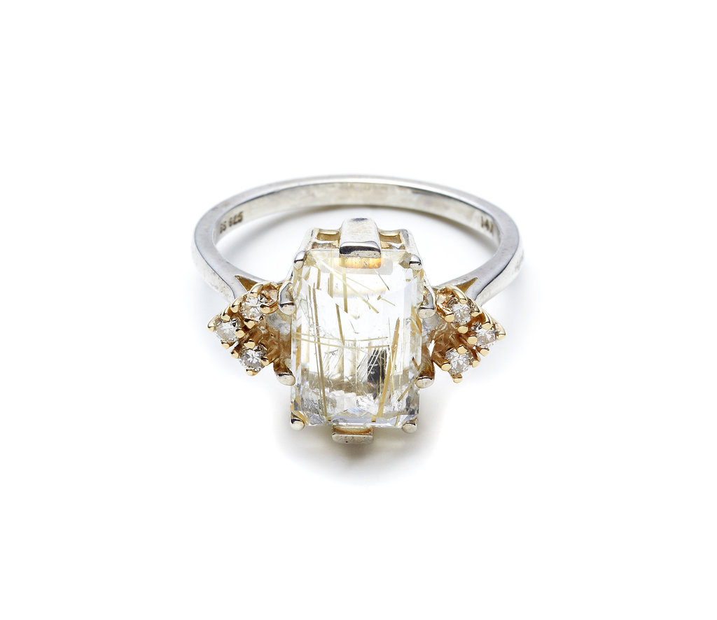 Anna Sheffield Bea Arrow Ring in Quartz and Champagne Diamond ($1,350)