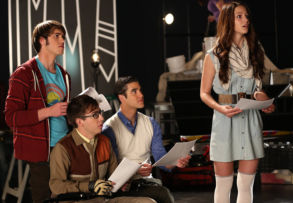 Blake Jenner, Kevin McHale, Darren Criss, and Melissa Benoist on Glee.