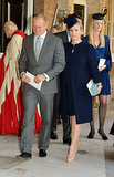 Godmother Zara Tindall and her husband, Mike Tindall, left the christening.